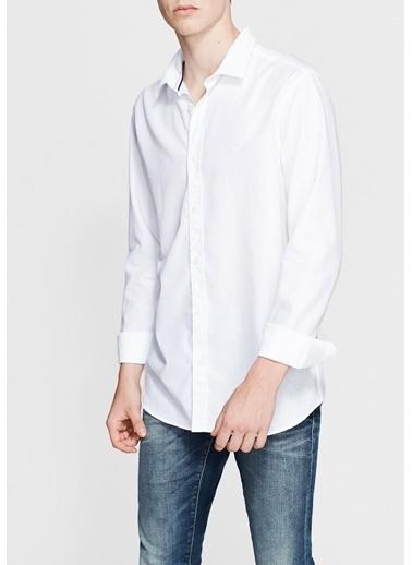 Mavi Uzun Kollu Gömlek Beyaz
